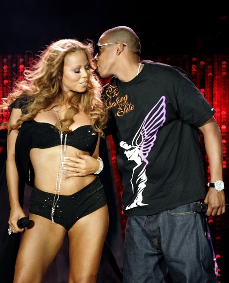 Singer Mariah Carey performs with Jay-Z in New York