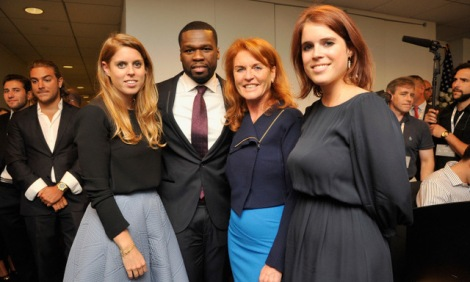 "NEW YORK, NY - SEPTEMBER 11:  Beatrice Ferguson, Curtis ""50 Cent"" Jackson, Sarah Ferguson, Duchess of York, Patricia Arquette and Eugenie Ferguson attends Annual Charity Day hosted by Cantor Fitzgerald and BGC at BGC Partners, INC on September 11, 2015 in New York City.  (Photo by Kris Connor/Getty Images for Cantor Fitzgerald)"